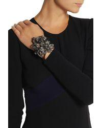 Lanvin - Black Floral Crystal Cuff - Lyst
