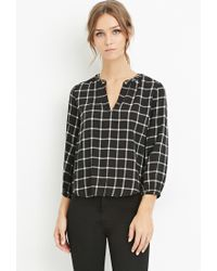 Forever 21 | Black Grommet Grid Print Top You've Been Added To The Waitlist | Lyst
