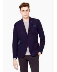 Mango | Blue Textured Unstructured Blazer for Men | Lyst