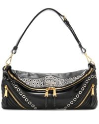 Miu Miu - Black Eyelet-embellished Leather Shoulder Bag - Lyst