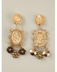 Dolce & Gabbana - Metallic Madonna Earrings - Lyst