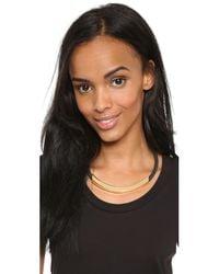 Kenneth Jay Lane   Metallic Bar Short Necklace - Gold/black   Lyst
