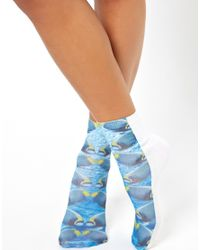 ASOS | Blue Double Printed Fish Ankle Socks | Lyst