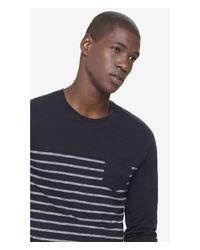 Express - Black Striped Twisted Slub One Pocket Crew Neck Tee for Men - Lyst