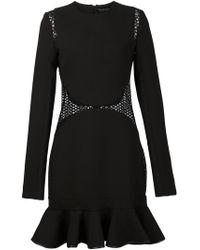 David Koma - Black Lace Panels Frilled Hem Dress - Lyst
