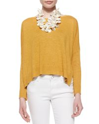 Eileen Fisher - Yellow Long-sleeve Organic Linen Box Top - Lyst