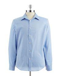 Calvin Klein | Blue Slim-Fit Button-Down Cotton Shirt for Men | Lyst