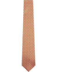 Ferragamo | Orange Paisley Rooster Print Tie - For Men for Men | Lyst