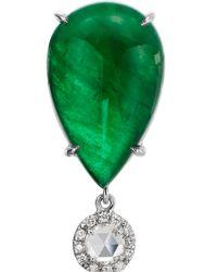 Nina Runsdorf | Green Emerald And Rosecut Half Moon Diamond Drop Earrings | Lyst
