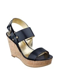 Ivanka Trump | Black Gareno Leather Platform Wedge Sandals | Lyst