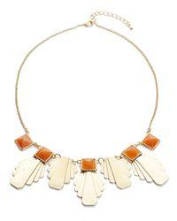 Panacea | Orange Art Deco Stone Statement Necklace | Lyst