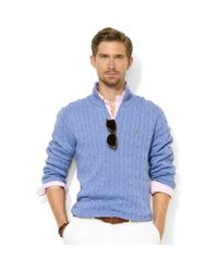 Ralph Lauren - Blue Half-zip Cable Knit Tussah Silk Sweater for Men - Lyst