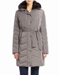 Cole Haan | Gray Faux Fur-collared Belted Coat | Lyst