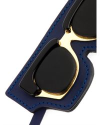 Marni - Blue Sunglasses Leather Key Ring - Lyst