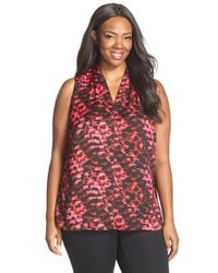 Ellen Tracy | Pink V-neck Mixed Media Top | Lyst