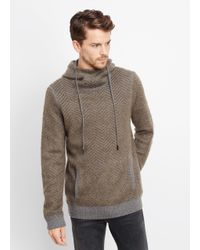 Vince | Green Brushed Mohair Blend Chevron Pullover Hoodie for Men | Lyst