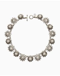 Ann Taylor | Metallic Floral Stone Necklace | Lyst