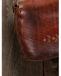 Free People - Brown Vintage Tooled Floral Leather Bag - Lyst