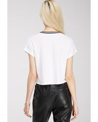 Forever 21 - White Striped Crew Neck Tee - Lyst