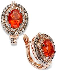 Le Vian | Brown Fire Opal (1-1/5 Ct. Chocolate (1/2 Ct. T.w.) And White Diamond (1/4 Ct. T.w.) Earrings In 14k Rose Gold | Lyst