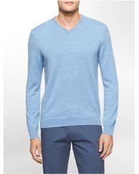 Calvin Klein | Blue White Label Merino Wool V-neck Sweater for Men | Lyst