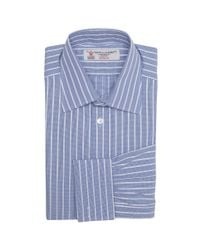 Turnbull & Asser - Blue And White Stripe Shirt With Classic T&a Collar for Men - Lyst
