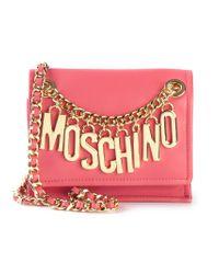 Moschino | Pink Logo-Chain Calf-Leather Cross-Body Bag | Lyst