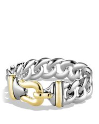 David Yurman | Metallic Buckle Single-row Bracelet With Gold | Lyst