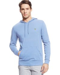 Lacoste - Blue Cotton Hooded Tee for Men - Lyst