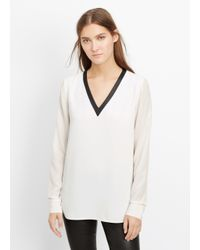 Vince - White Mixed Media V-neck Blouse - Lyst
