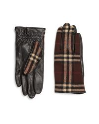 Burberry - Brown Wool Check Leather Gloves for Men - Lyst