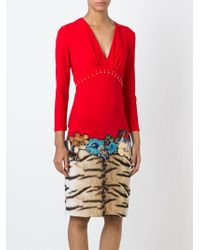Roberto Cavalli | Red Tiger And Flower Print Fitted Dress | Lyst