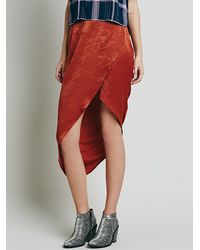 Free People | Orange Lily Wrap Column Skirt | Lyst