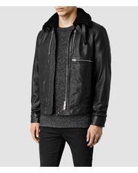 AllSaints - Black Benson Leather Jacket for Men - Lyst