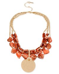 Kenneth Cole | Orange Gold-tone Mixed Shell Bead Multi-row Necklace | Lyst