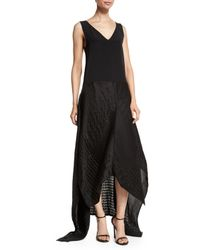 Zero + Maria Cornejo - Black V-neck Crinkled High-low Combo Gown - Lyst
