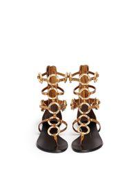 Giuseppe Zanotti - Metallic 'Rock' Metal Ringlet Mirror Leather Sandals - Lyst