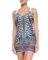 Jean Paul Gaultier - Blue Tattoo-print Maillot With Tulle Overlay - Lyst