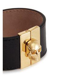 Alexander McQueen - Metallic Skull Clasp Wide Leather Bracelet - Lyst