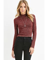 Forever 21 | Purple Contemporary Metallic Mock Neck Sweater | Lyst