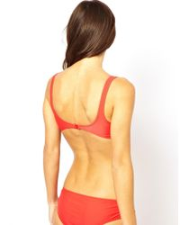 ASOS - Red Lace Up Side Crop Bikini Top - Lyst