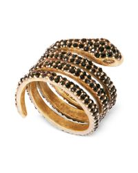 Lucky Brand | Goldtone Black Crystal Coiled Snake Ring | Lyst