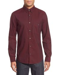 7 For All Mankind - Red Trim Fit Long Sleeve Oxford Sport Shirt for Men - Lyst