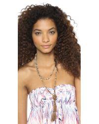 Chan Luu - Beaded Tassel Necklace Natural Mix - Lyst