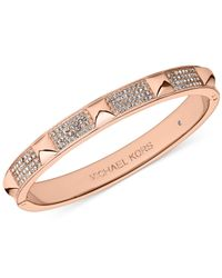 Michael Kors | Metallic Crystal Pavé And Pyramid Stud Hinge Bangle Bracelet | Lyst
