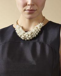 Jaeger - Metallic Pearl Cluster Necklace - Lyst