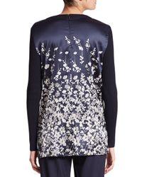 St. John - Black Floral-degrade Stretch-silk Blouse - Lyst