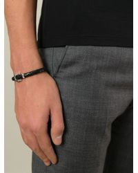 Ferragamo | Black Woven Gancio Bracelet for Men | Lyst