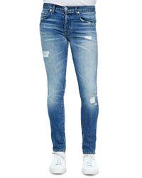 J Brand - Blue Mick Destructed Stretch Denim Jeans for Men - Lyst