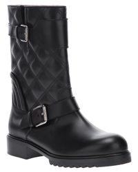 Marc Jacobs Black Quilted Double Buckle Boot